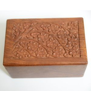 Vintage Indian Floral Wood Hand Carved Box